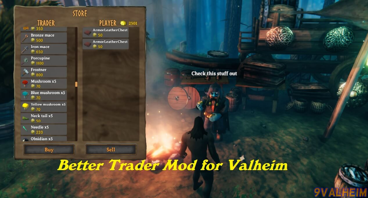 Add more items to the trader menu with the Better Trader mod